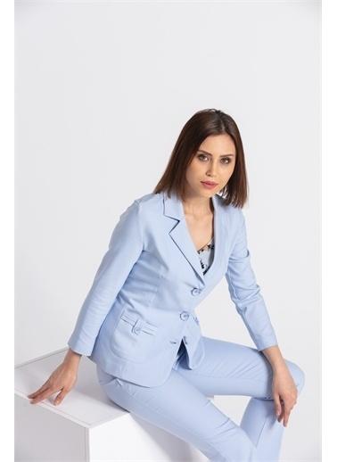 Jument Kalın Kemerli Süs Cepli Paçası Yırtmaçlı Ofis Kumaş Pantolon-Kiremit Mavi